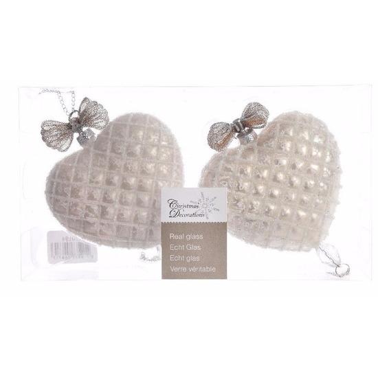 Glazen kerstballen in de vorm van zilveren hartjes 2 stuks