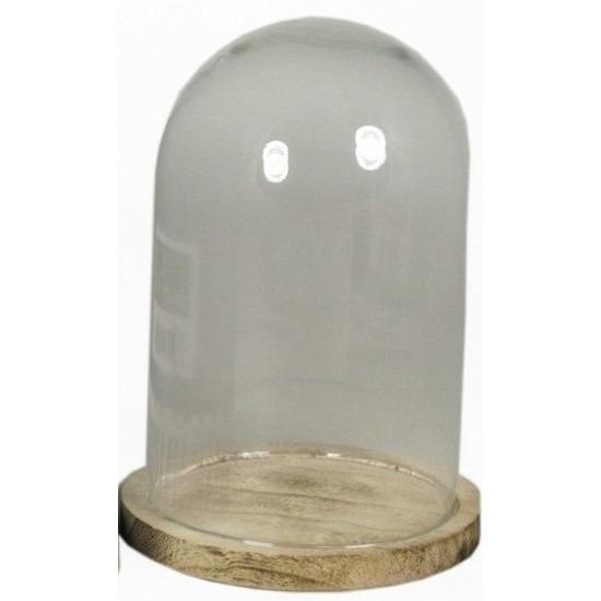 Glazen stolp met houten onderbord 22 cm
