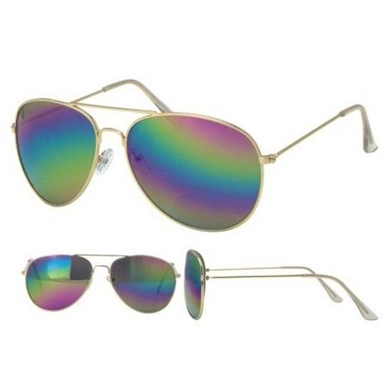 Gouden aviator bril voor dames-heren