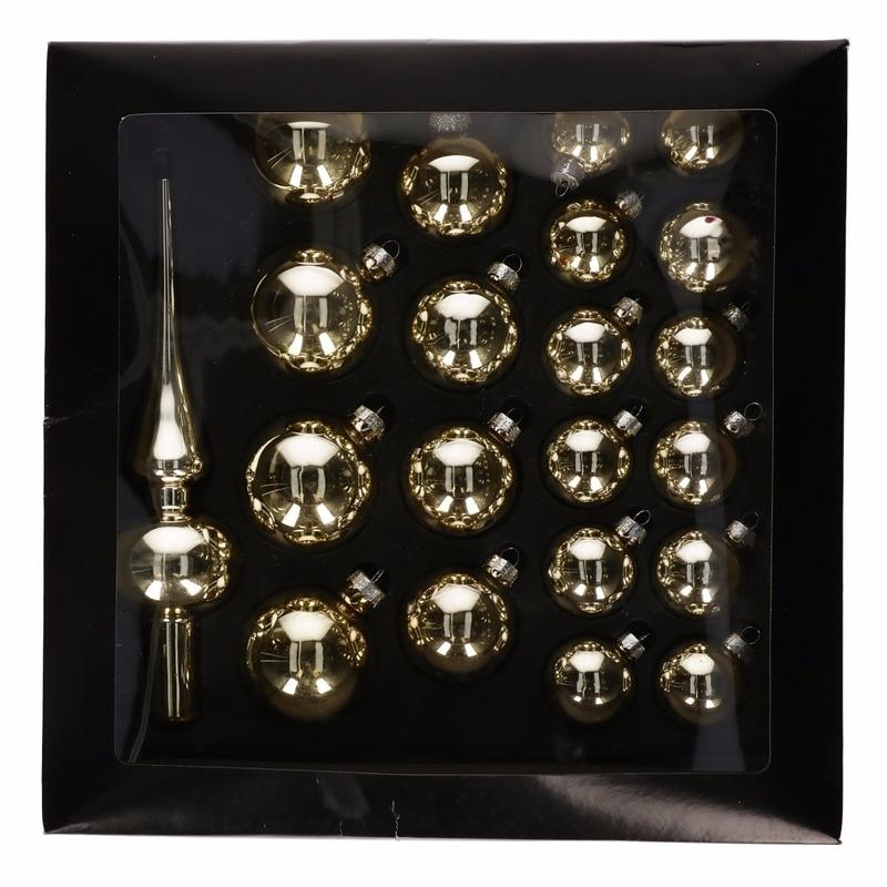 Gouden glazen kerstballen 21 stuks