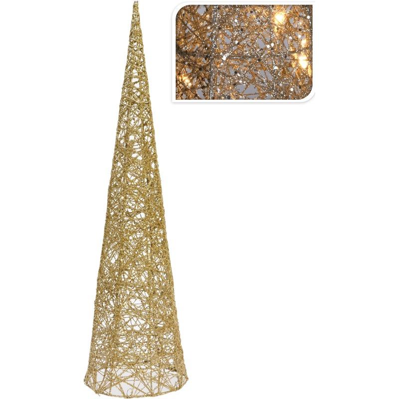 Gouden piramide lamp met glitters 60 cm
