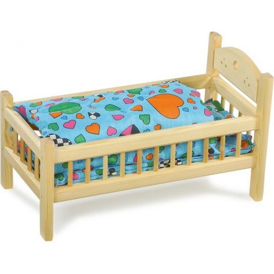 Grenen compleet bed voor poppen 42 cm