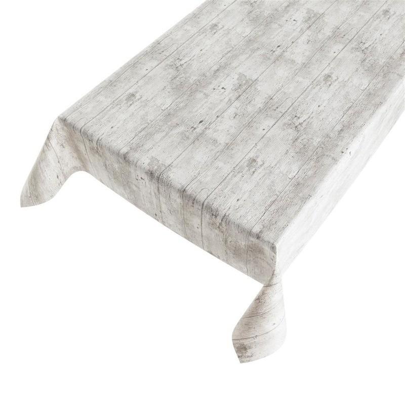 Grijs tuin tafellaken voor buiten houtprint 140 x 170 cm PVC-kunststof