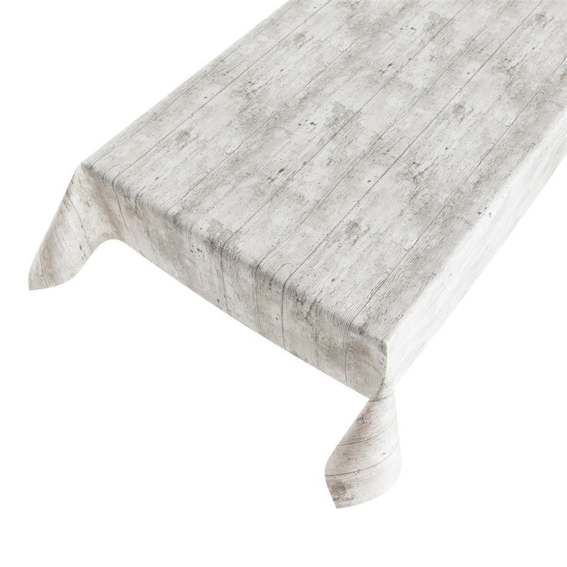 Grijs tuin tafellaken voor buiten houtprint 140 x 245 cm PVC-kunststof