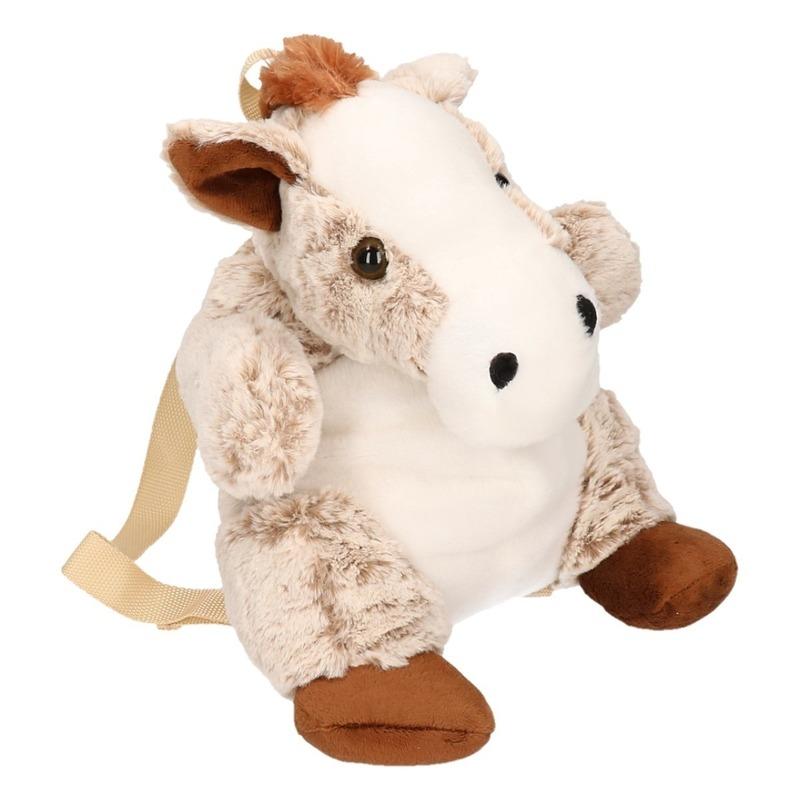 Grijze pluche paard tas voor kind 20 x 36 cm