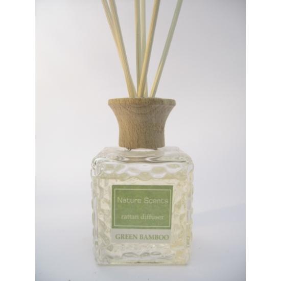 Woonaccessoires Groene bamboe geur olie verspreider met stokjes 80 ml