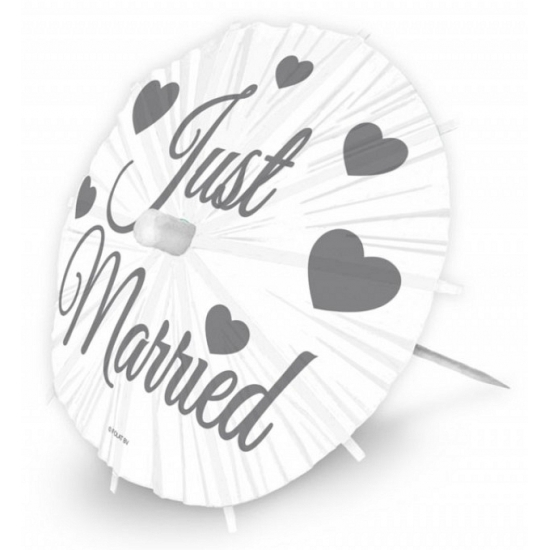 Grote Just Married ijsparasols 20 cm