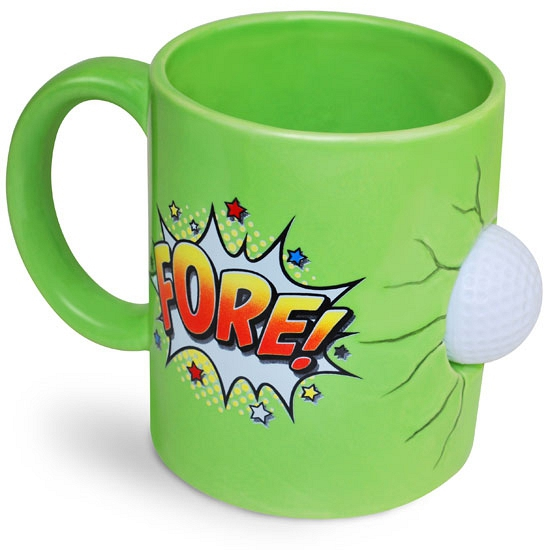 Grote koffiemok voor een golfspeler