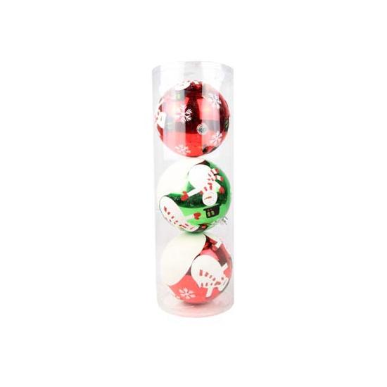 Grote rode en groene kerstballen 3 stuks