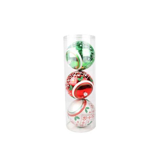 Grote rode-groene-zilveren kerstballen 3 stuks
