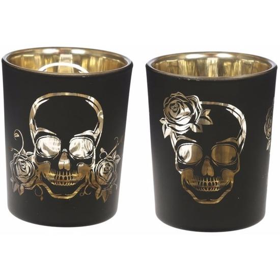 Halloween decoratie kaarsenhouders skelet print 2 stuks zwart-goud