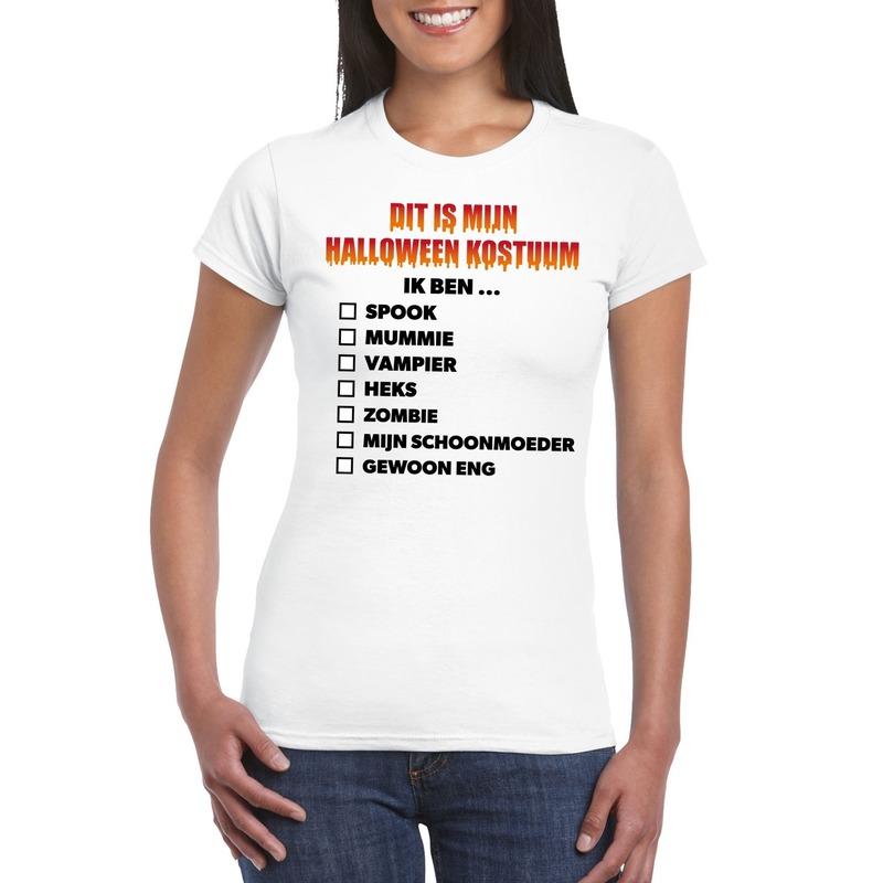 Halloween Halloween kostuum lijstje t-shirt wit dames
