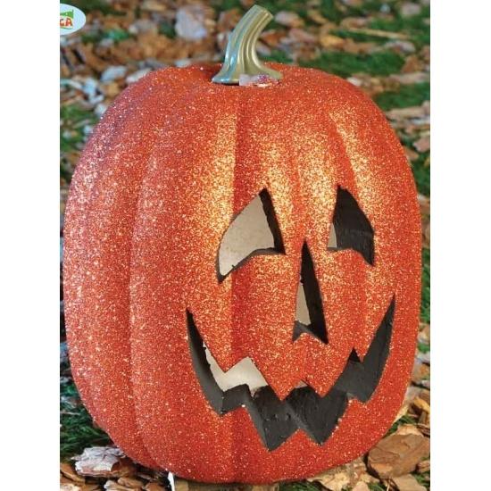 Halloween versiering pompoen met licht 25 cm