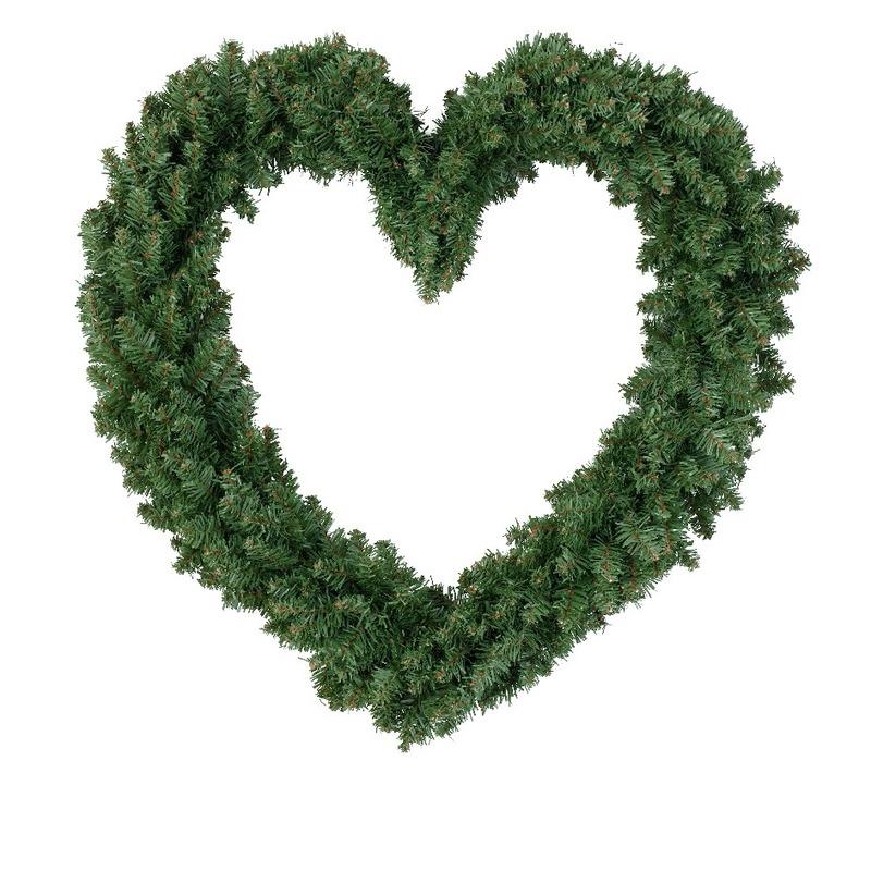 Hartvormige kerstkrans kerstversiering groen 50 cm