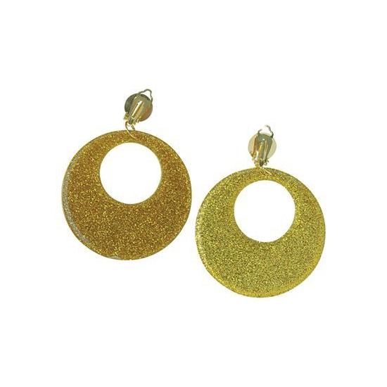 Hippie oorbellen met glitter goud
