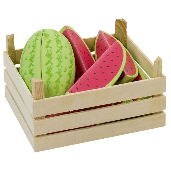 Houten kunstfruit meloenen in kist