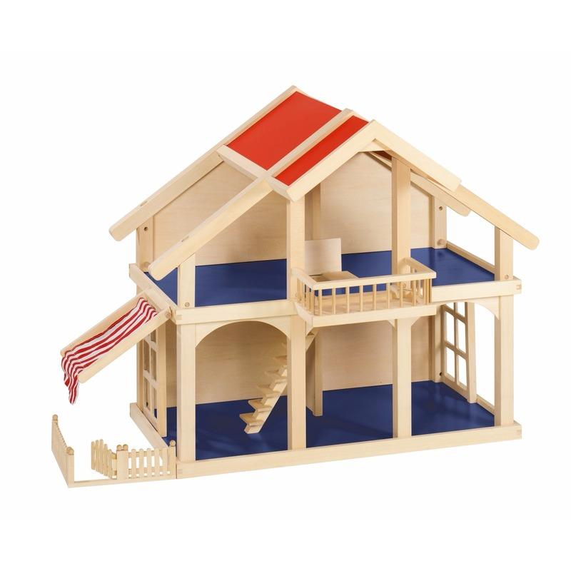 Houten poppenhuisje met balkon en veranda