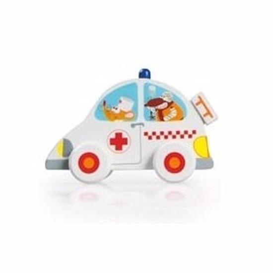 Houten speelgoed zieken autootje