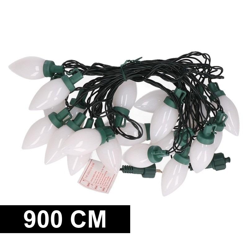Kerst decoratie LED verlichting snoer met warm wite kaarsjes lampjes 900 cm voor buiten