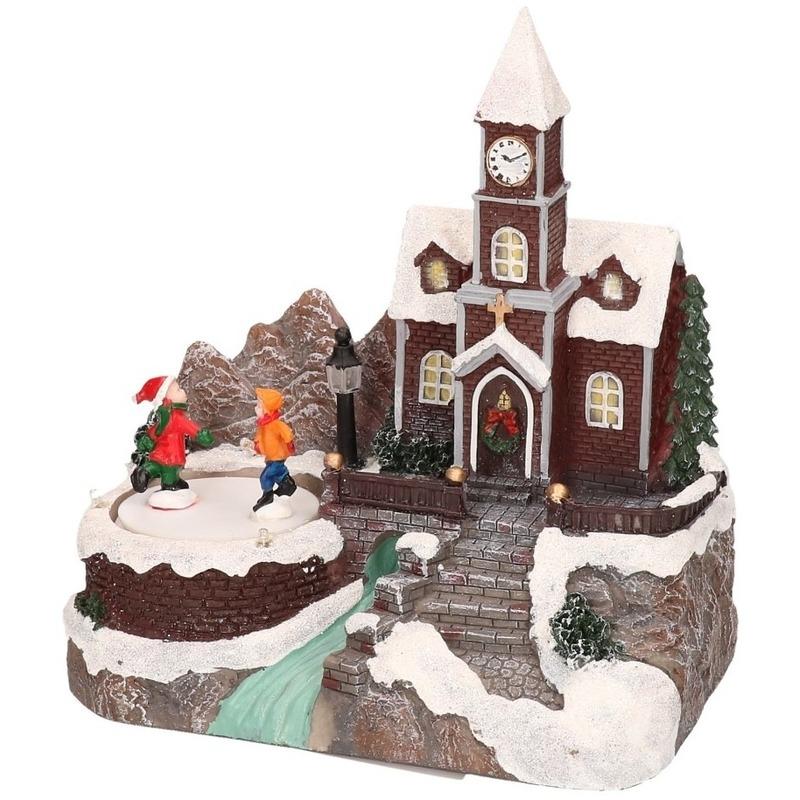 Kerst landschap kerstdorp huisje 16 cm met licht