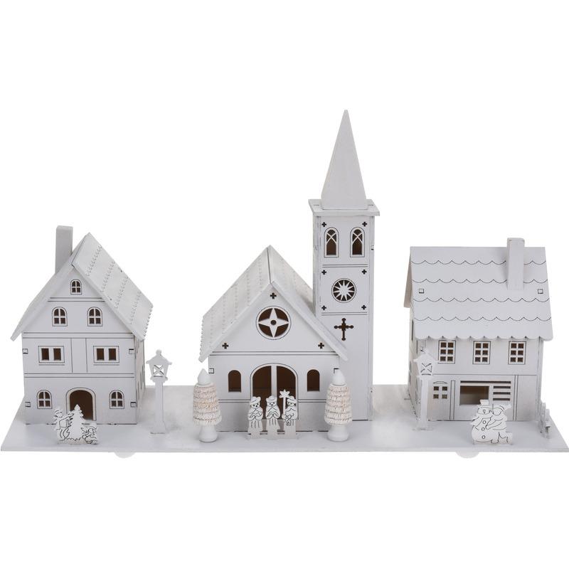 Kerst landschap kerstdorp met kerk 22 cm met licht