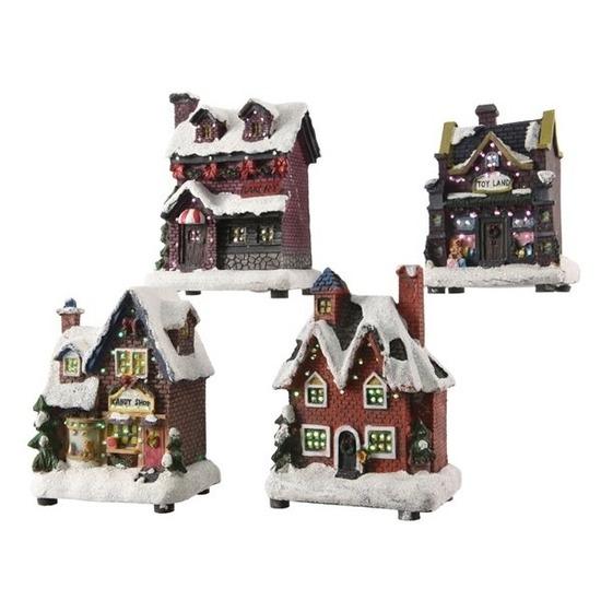 Kerst landschap kerstdorp snoepwinkel 12 cm met licht