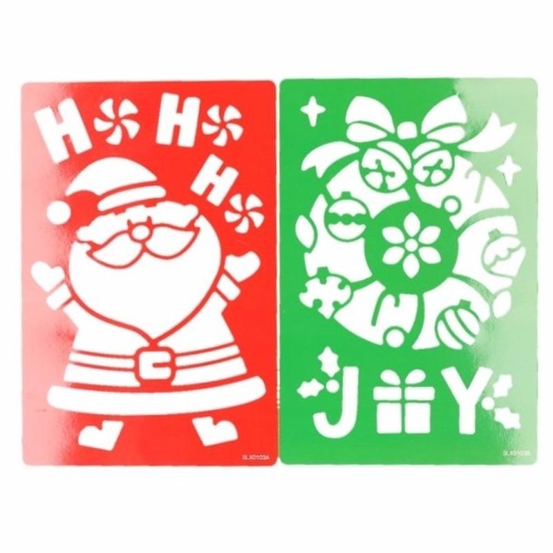 Kerst raamdecoratie sjablonen kerstman-kerstkrans 25 cm