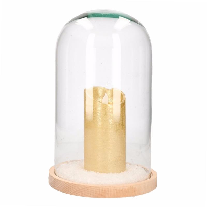 Kerst vensterbank decoratie stolp met hoge gouden LED kaars 30 cm