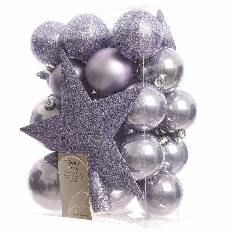 Kerstballen pakket met piek lila