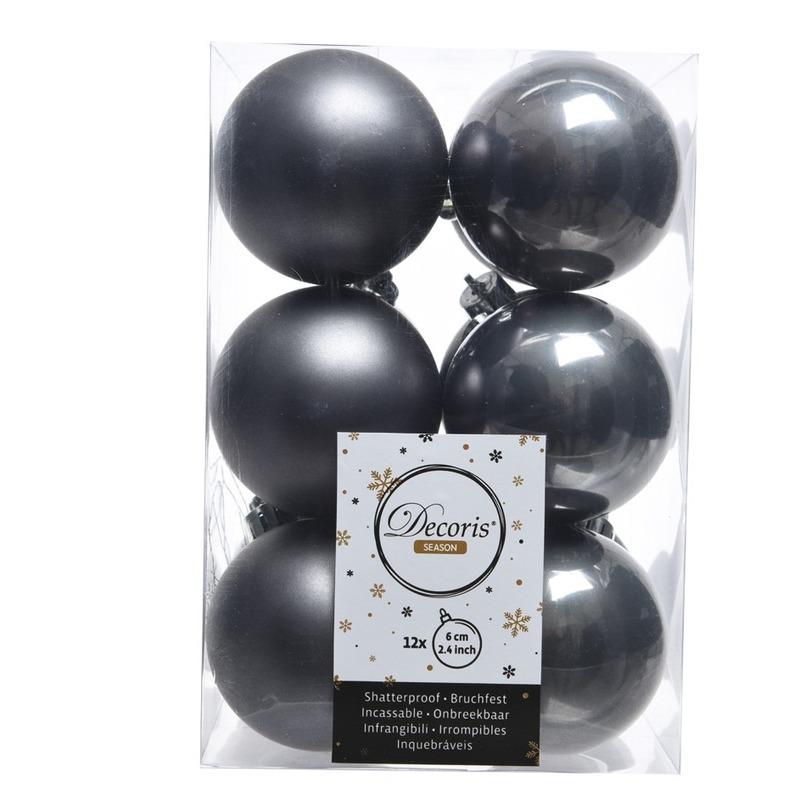 Kerstboom ballen donker grijs 6 cm