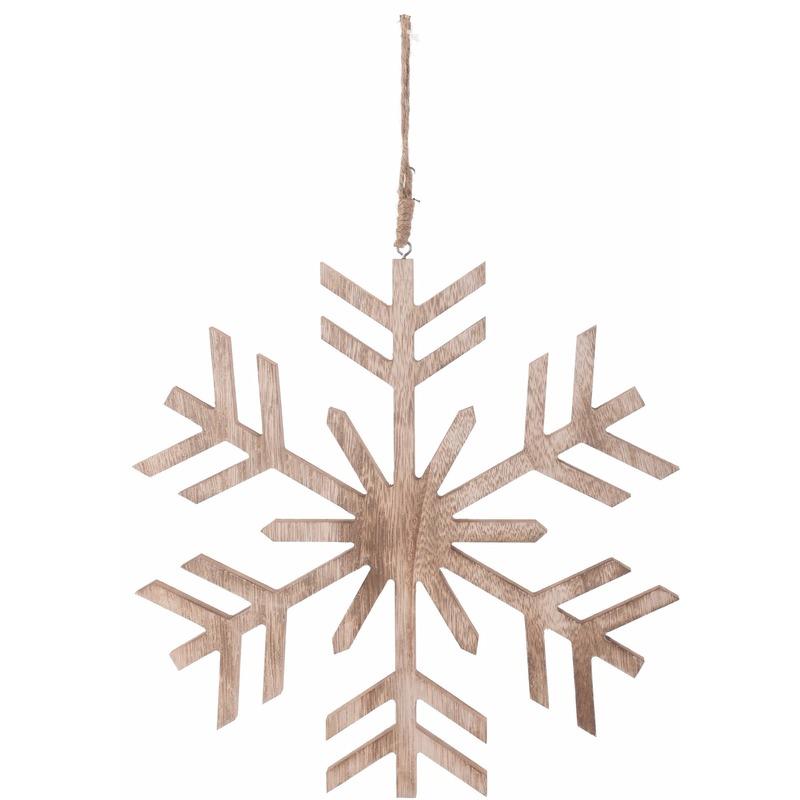 Kerstboom decoratie bruin-houten sneeuwvlok hanger 30 cm