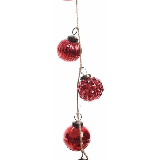 Kerstboom slinger met rode kerstballetjes 120 cm