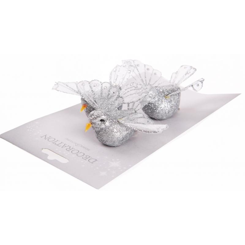 Kerstboom vogeltje zilver