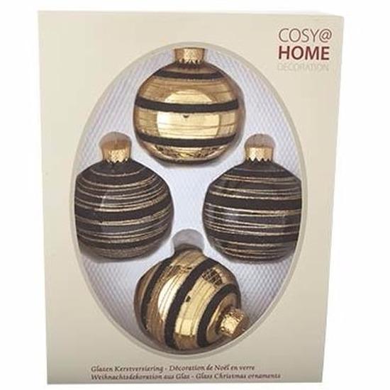 Kerstboomversiering ballen zwart-goud 4 stuks van glas