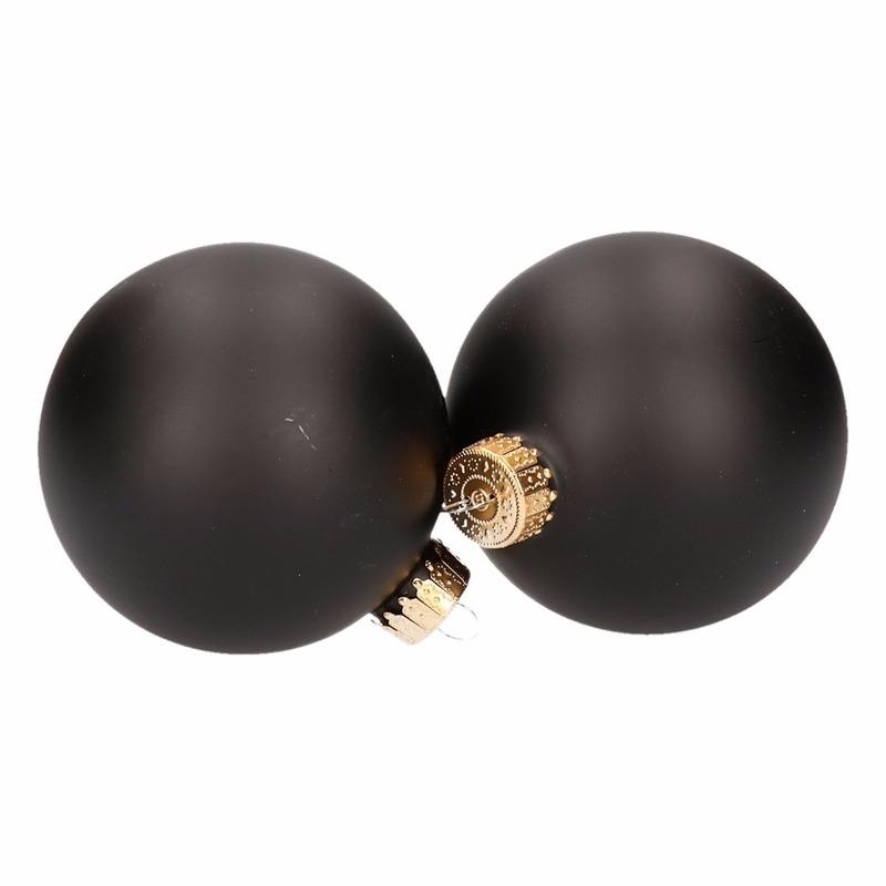 Kerstboomversiering ballen zwart-mat 4 stuks van glas