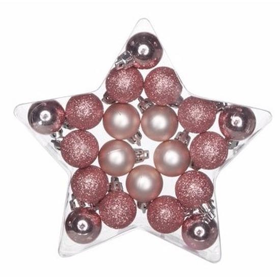 Kerstboomversiering mix ballen roze-mat 20 stuks voor kleine kerstboom