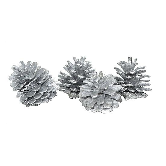 Kerstboomversiering zilveren dennenappels
