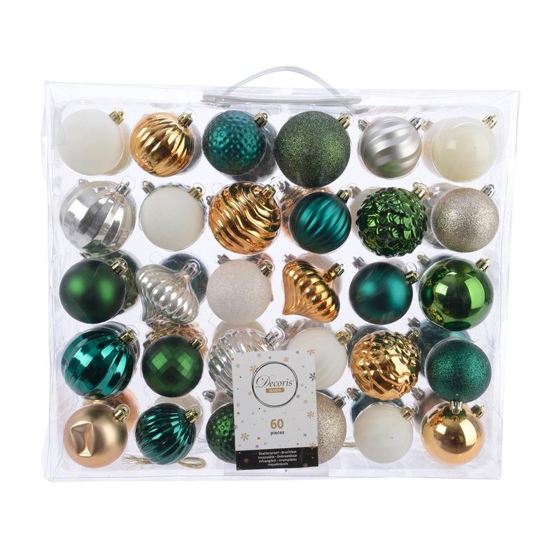 Kerstdecoratie set kerstballen groen- goud- zilver- wit 60 delig