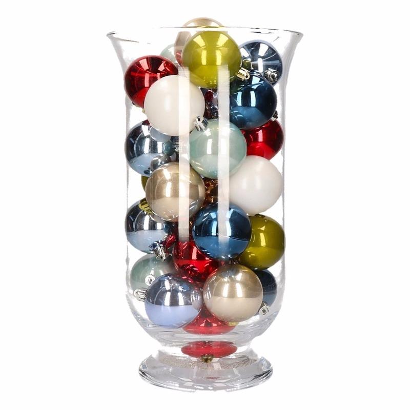 Kerstdecoratie vaas met gekleurde kerstballen