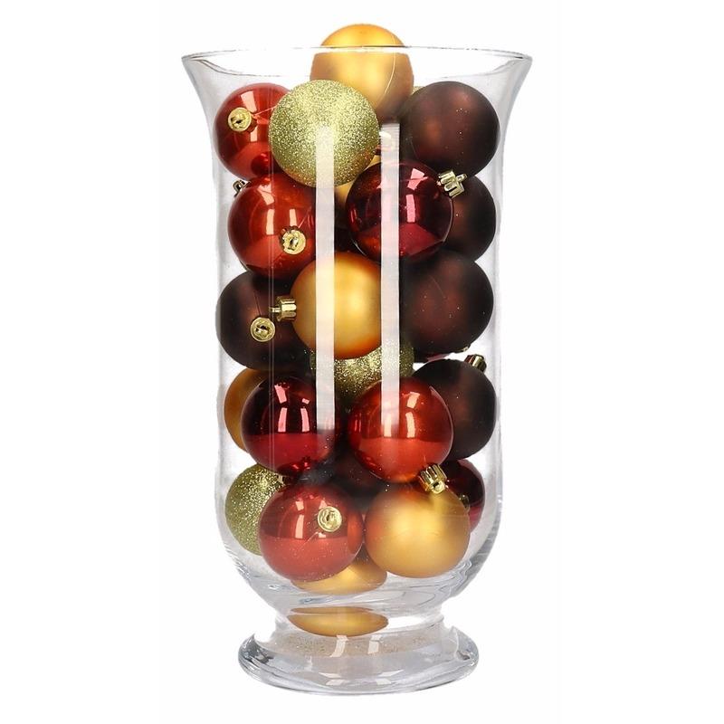 Kerstdecoratie vaas met rood-bruine kerstballen
