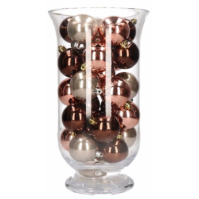 Kerstdecoratie vaas met roze glamour kerstballen