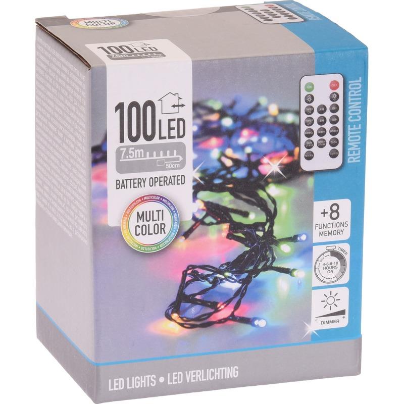 Kerstverlichting op batterijen inclusief afstandsbediening kleur 100 lichtjes