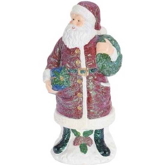 Kerstversiering beeld polystone Kerstmannetje 27 cm