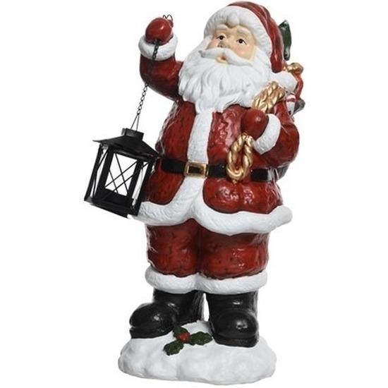 Kerstversiering beeld polystone Kerstmannetje 46 cm