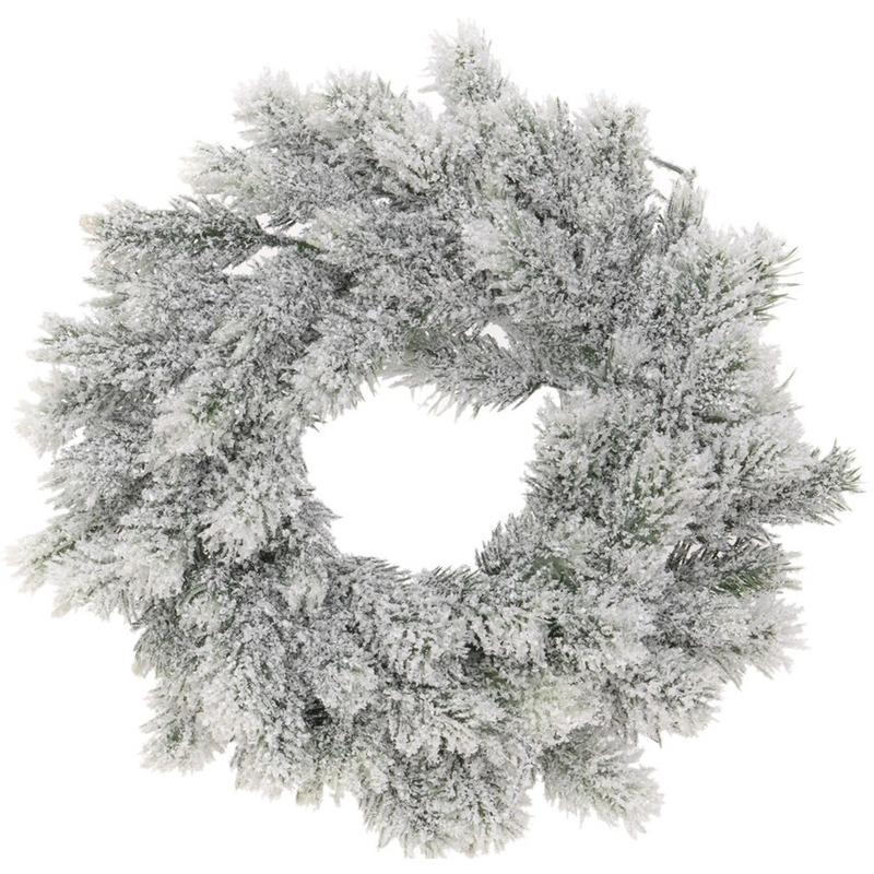 Kerstversiering kerstkransen-dennenkransen 35 cm dennentakken-kunstsneeuw