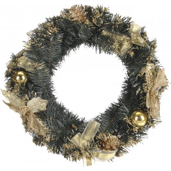 Krans met gouden kerstdecoratie 40 cm