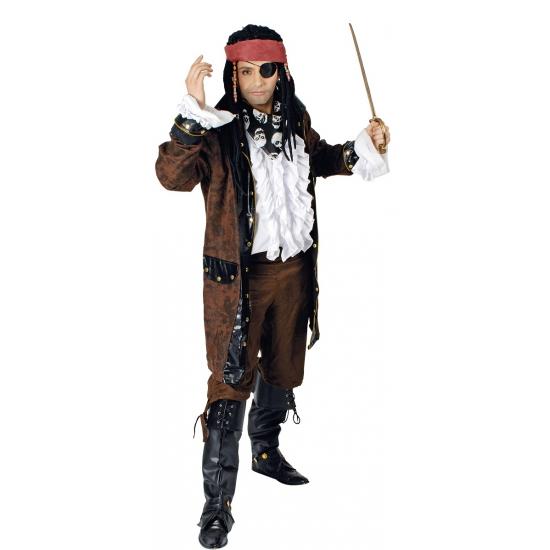 Lange bruine piraten jas voor mannen