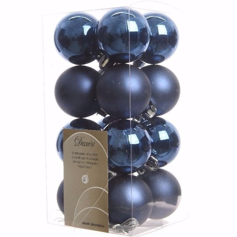 Mystic Christmas blauwe kerstversiering kleine kerstballen pakket 16 stuks