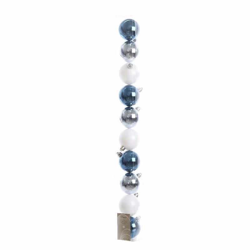Mystic Christmas blauwe-zilveren-witte kerstversiering glanzende kerstballen pakket 10 stuks