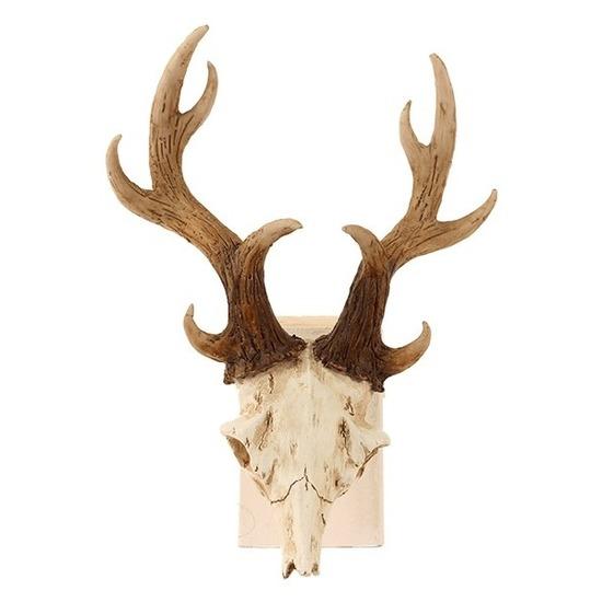 Namaak herten schedel decoratie met gewei 17 x 23 cm